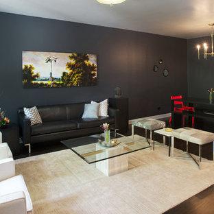 Immagine di un soggiorno design con pareti blu
