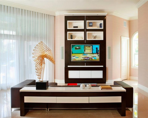 Example Of A Trendy Living Room Design In Miami With Pink Walls