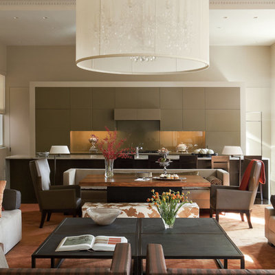 Inspiration for a contemporary open concept living room remodel in New York with beige walls