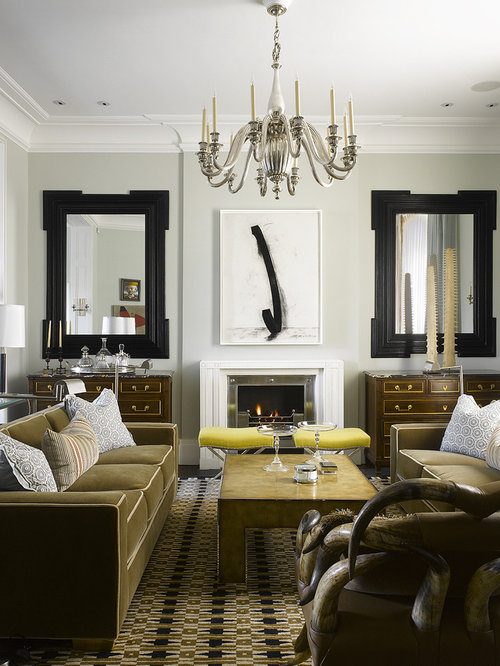 Trendy Living Room Photo In Philadelphia With Gray Walls A Standard Fireplace And No Tv