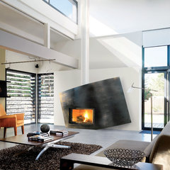 contemporary living room by CF + D custom fireplace design