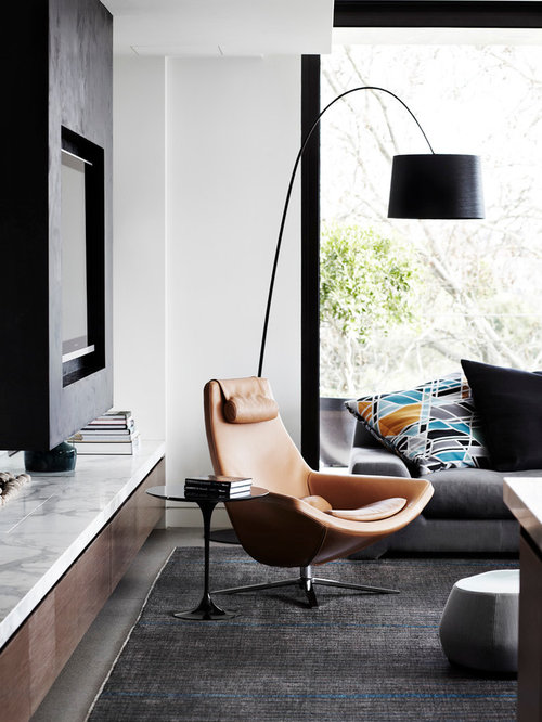 Example Of A Mid Sized Trendy Open Concept Living Room Design In Melbourne With White