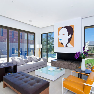 Large trendy open concept living room photo in Gold Coast - Tweed with white walls and a ribbon fireplace
