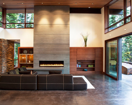 Fireplace feature wall ideas pictures remodel and decor - Feature wall ideas living room with fireplace ...