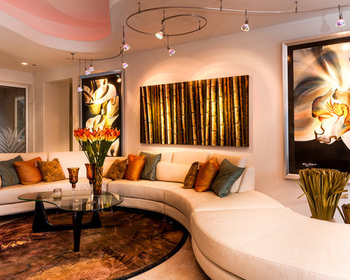 Trendy Living Room Photo In Other With White Walls