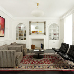 Photo Of A Medium Sized Contemporary Formal Living Room In London With  White Walls, A
