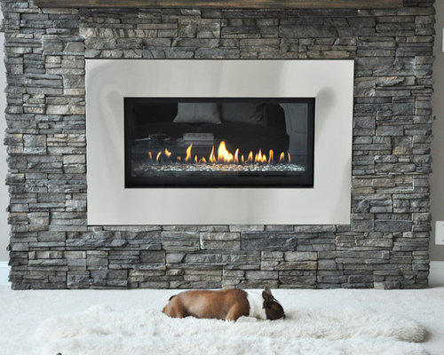 Stone Fireplace Renovation Modern Living Room Dc Metro By