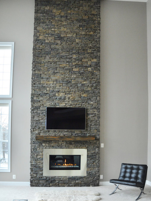 Tall Stone Fireplace Houzz