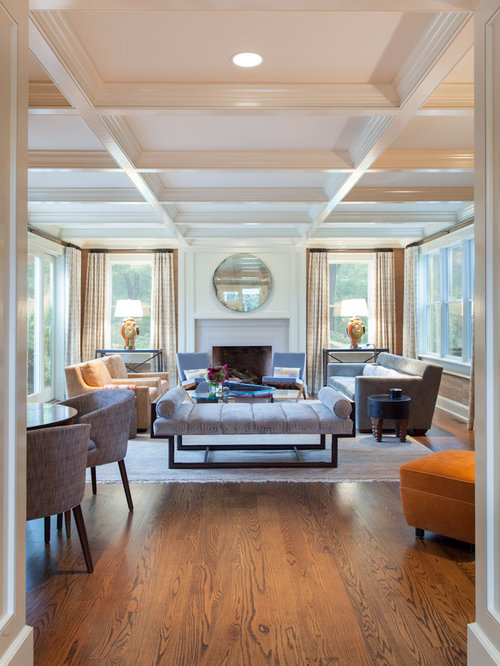 Large Transitional Enclosed Living Room Photo In New York With A Standard Fireplace