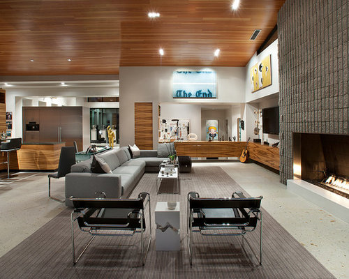 Inspiration for a large contemporary open concept and formal living room  remodel in Phoenix with white