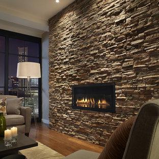 Inspiration pour un salon design avec un manteau de cheminée en pierre et un mur en pierre.