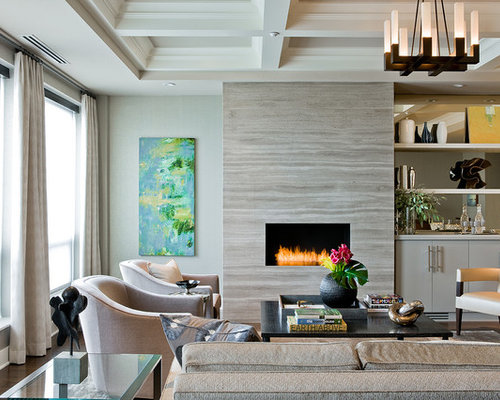 Inspiration For A Contemporary Living Room Remodel In Boston With A Ribbon  Fireplace And A Bar Part 83