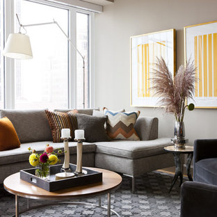 Inspiration for a mid-sized contemporary open concept light wood floor living room remodel in Boston with gray walls and a wall-mounted tv