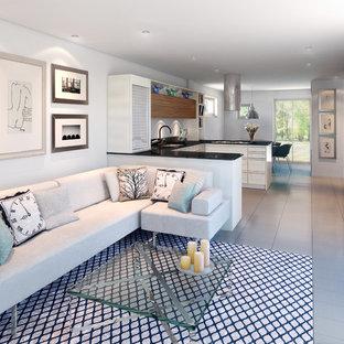 Idee per un soggiorno design aperto con pareti bianche