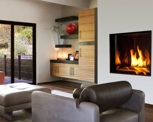 contemporary living room idea in other with white walls - Fireplace Design Ideas