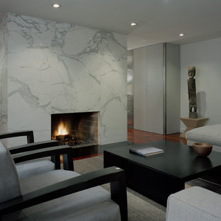 Inspiration for a large contemporary living room remodel in Seattle with white walls