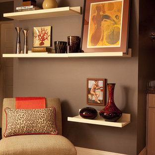 Idéer för att renovera ett funkis vardagsrum, med grå väggar
