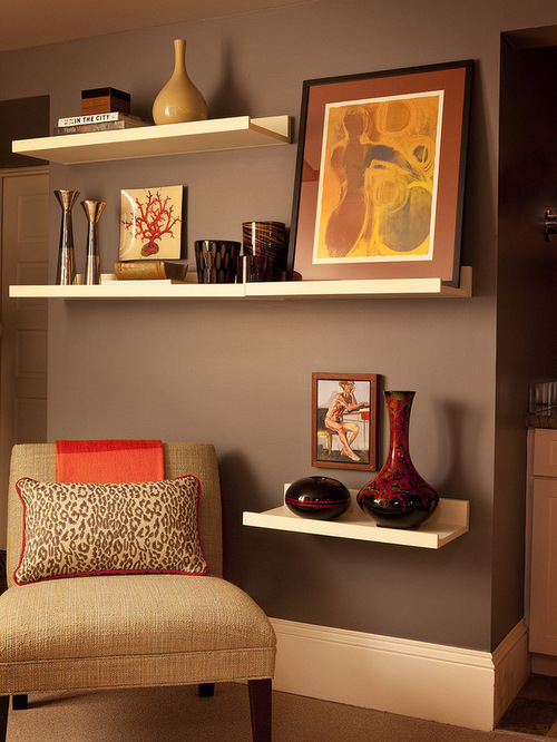 Art shelves houzz for B q living room shelves