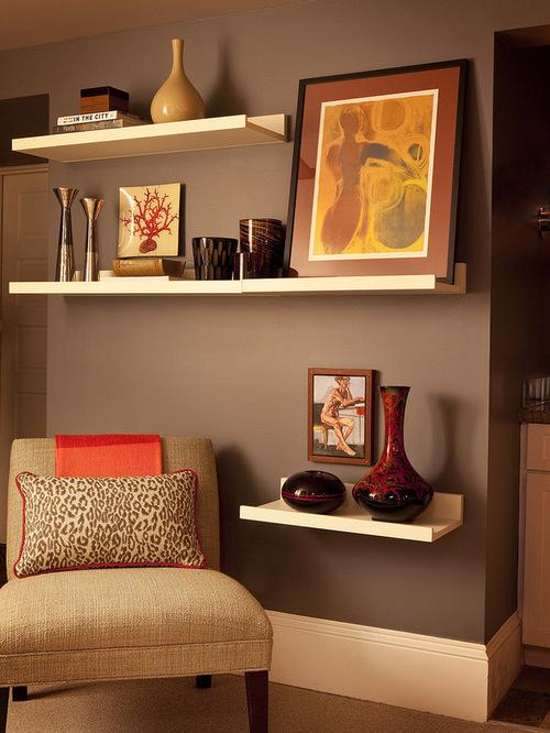Art shelves houzz for B q living room shelves