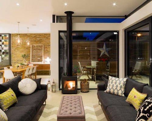 Inspiration For A Contemporary Open Plan Living Room In London With A Wood  Burning Stove.