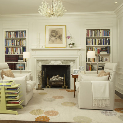 Small trendy enclosed living room library photo in Minneapolis with a standard fireplace