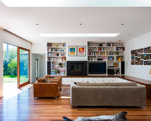 Inspiration For A Contemporary Open Concept Medium Tone Wood Floor Living Room Remodel In Melbourne With