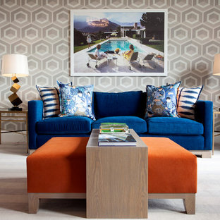 Trendy carpeted living room photo in Other with multicolored walls