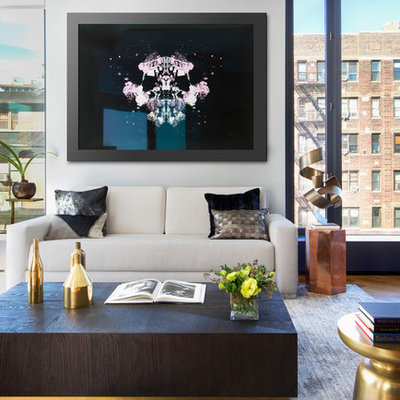 Living room - contemporary formal living room idea in New York with white walls, no fireplace and no tv