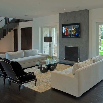 Trendy living room photo in Other with a standard fireplace, a wall-mounted tv and a plaster fireplace