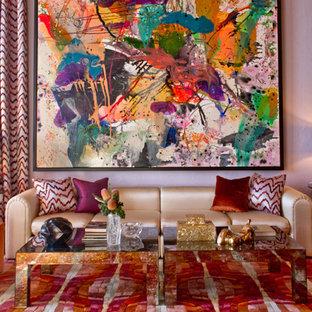 Bild på ett funkis vardagsrum, med lila väggar