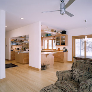 Trendy light wood floor living room photo in Seattle with white walls