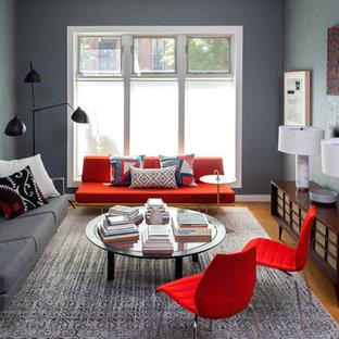Living Room Contemporary Formal And Enclosed Medium Tone Wood Floor Idea In New