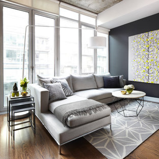 Imagen de salón actual con paredes negras, suelo de madera en tonos medios y suelo marrón
