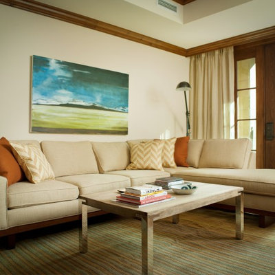 Inspiration for a contemporary living room remodel in Denver with beige walls