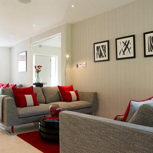 Huge trendy porcelain floor living room photo in London