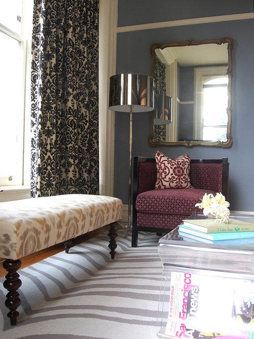 Damask Living Room Decor: Glam Living Room