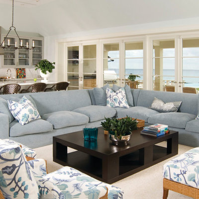 Inspiration for a large contemporary living room remodel in Miami with white walls