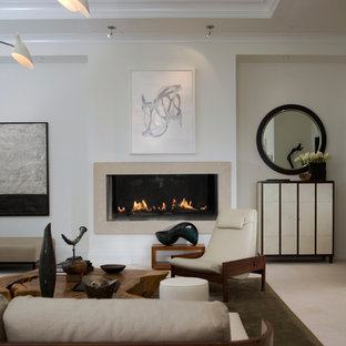 Inspiration for a contemporary living room remodel in Atlanta with beige walls and a ribbon fireplace