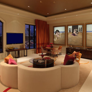 Living room - contemporary carpeted living room idea in Other with a wall-mounted tv
