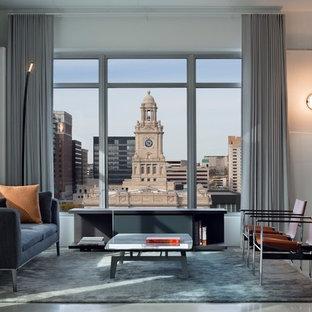 Imagen de salón para visitas abierto, actual, grande, con paredes blancas y suelo de cemento