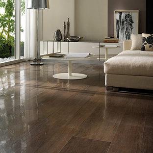 Trendy open concept porcelain floor living room photo in Toronto with beige walls
