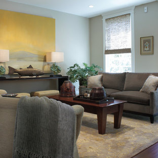 This is an example of a contemporary living room in Chicago with beige walls.