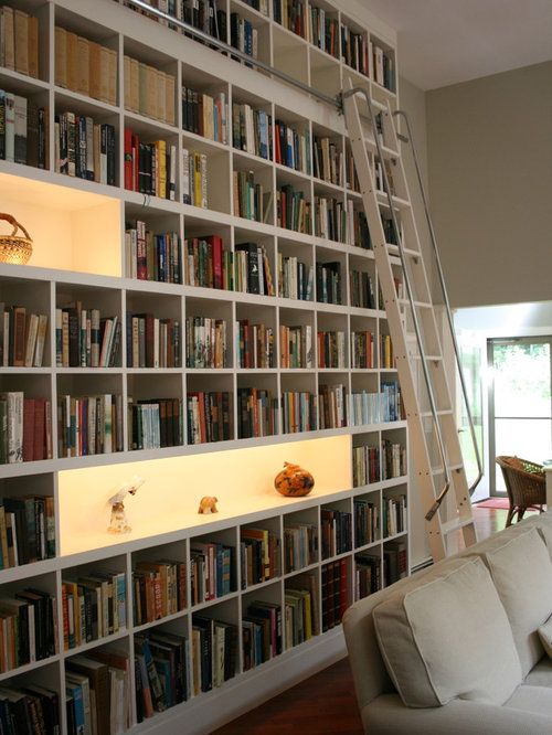 Contemporary Living Room Library Idea In Burlington