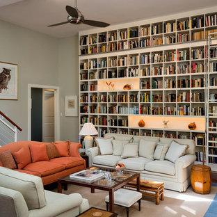Trendy living room photo in Burlington with green walls
