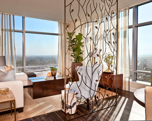 Example Of A Mid Sized Trendy Living Room Design In Los Angeles