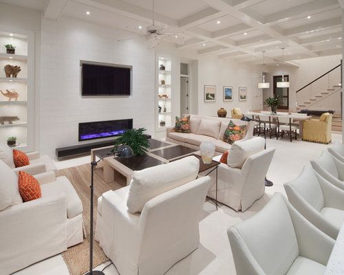 Trendy Open Concept Living Room Photo In Orlando With A Ribbon Fireplace  And A Wall