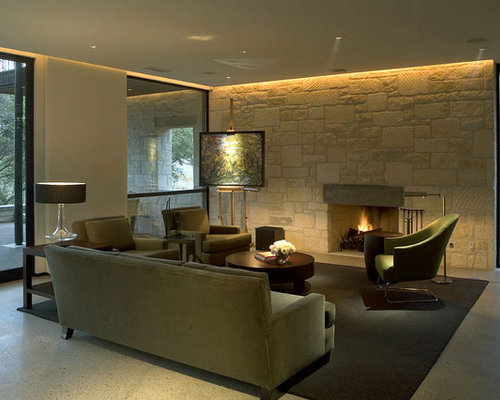 False Ceiling Lighting Example Of A Trendy Living Room Design In Austin With Standard Fireplace And Stone