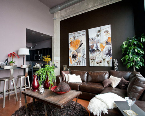 Superior Example Of A Mid Sized Trendy Living Room Design In Baltimore With Black  Walls Part 24