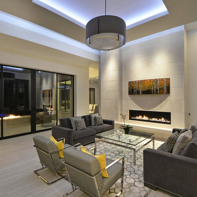 Trendy formal and open concept living room photo in Austin with white walls, a ribbon fireplace, a tile fireplace and no tv