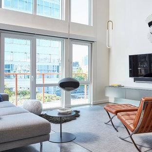 Diseño de salón abierto, actual, pequeño, con paredes blancas, suelo de cemento, chimeneas suspendidas y televisor colgado en la pared